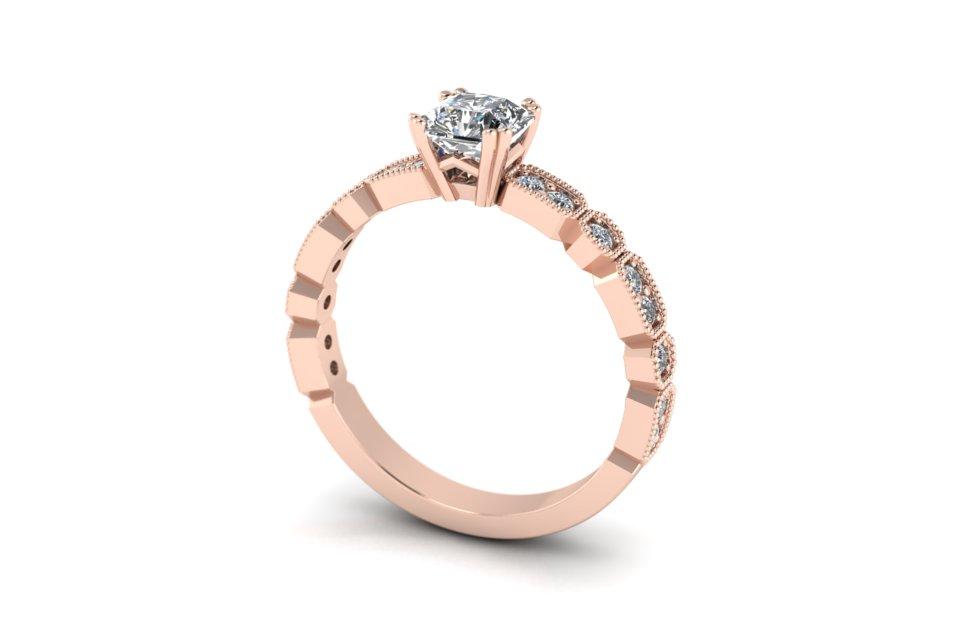 G&O Asscher Deco Engagement B