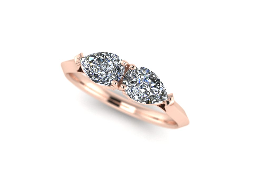 G&O Double Pear Engagement - £3280 based on 1ct GSI Pears in 18ct RG