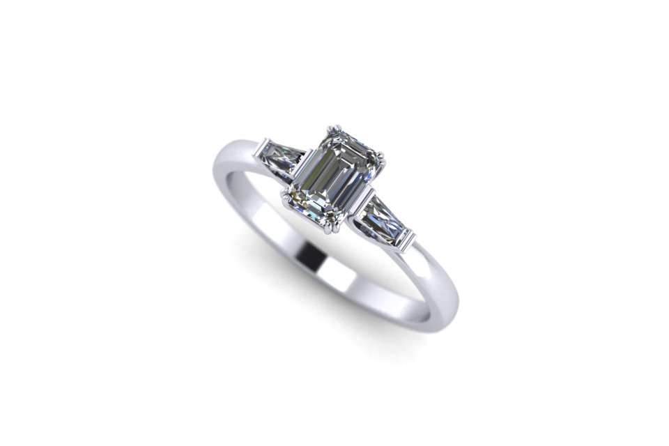 G&O Emerald Art Deco Engagement - £2480 based on 0.65ct Centre in 18ct WG