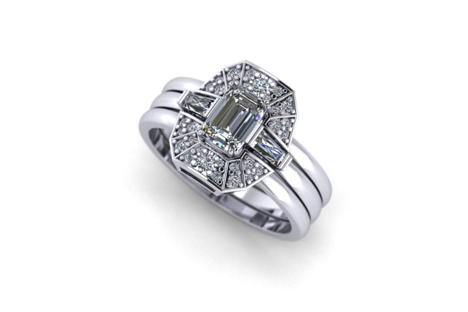 G&O Emerald Art Deco Stack - £5080 based on 0.65ct GSI Emerald Centre in 18ct WG