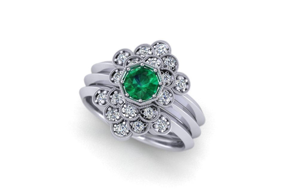 G&O Octagon Floral Stack - £4035 based in 18ct WG with a 5mm Green Tsavorite