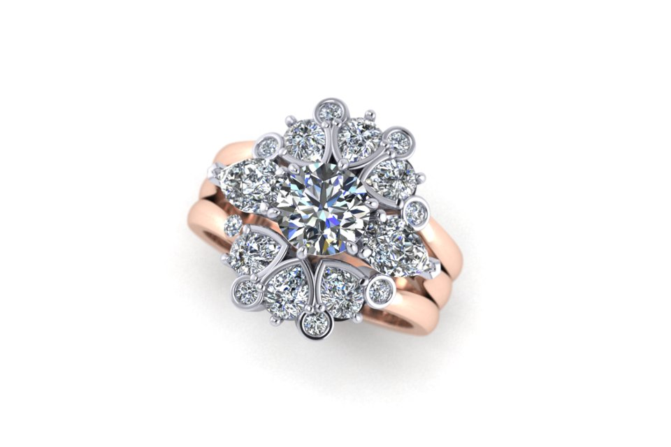 G&O Rd and Pear Floral Stack - £12,420 based on 1ct GSI Central Diamond in 18ct