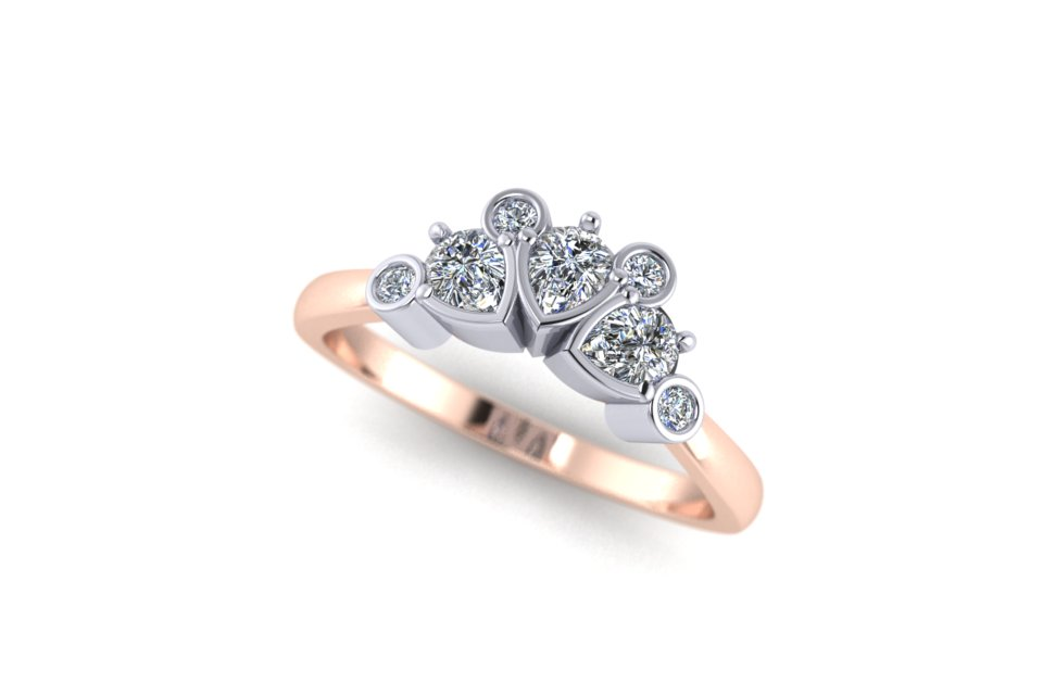 G&O Rd and Pear Floral Wedding and Eternity - £2100 in 18ct