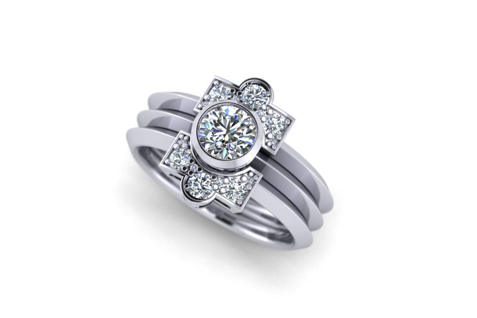 G&O Round Art Deco Stack - £5370 based on 0.5ct GSI Centre in 18ct WG