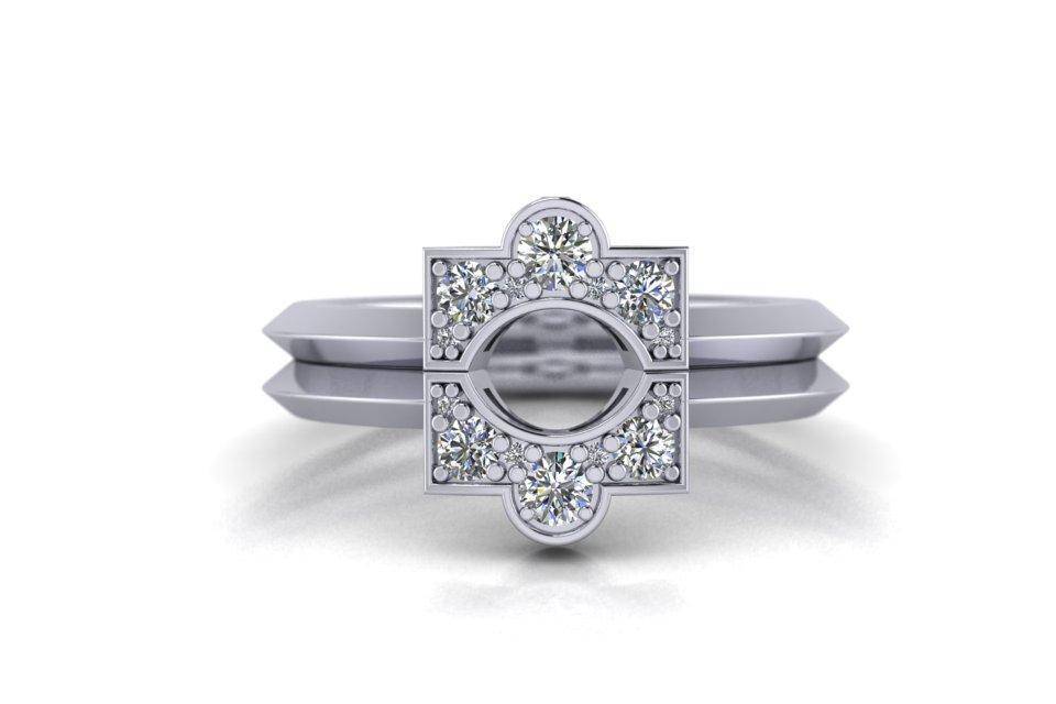 G&O Round Art Deco Wedding and Eternity C